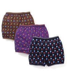 Cucumber Printed Panties Purple Black Brown - Set Of 3
