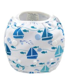 Wanna Party Sailor Boat Swim Diaper - White And Blue