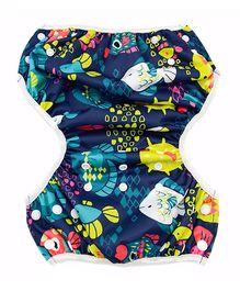 Wanna Party Swim Diaper Big Fish Print - Multi Color