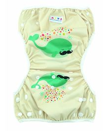 Wanna Party Swim Diaper Whale Print - Light Green