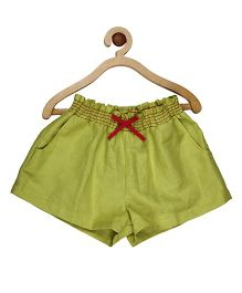My Lil Berry Smocking Elasticated Cotton Shorts - Green