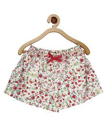 My Lil Berry Floral Print Elasticated  Shorts - White And Maroon