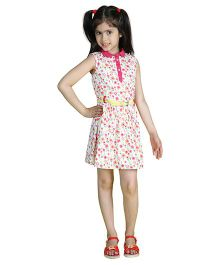 My Lil Berry Sleeveless Belted Floral Print Shirt Dress - White And Dark Pink