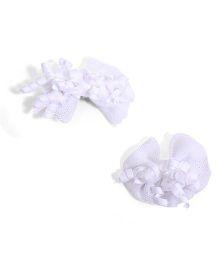 NeedyBee Korker Net Bow Hair Clips - White