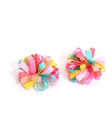 NeedyBee Ribbon Bow Hair Clips - Multicolour