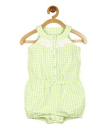 My Lil Berry Sleeveless Lace Detailing Checks Romper - Green