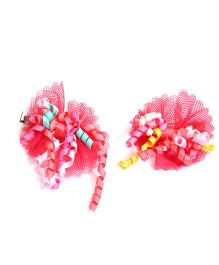 NeedyBee Floral Bow Alligator Hair Clips - Red