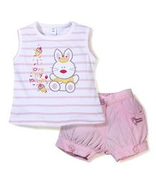 ToffyHouse Rabbit Print Top And Shorts Set - White And Pink