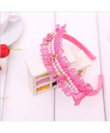 Wow Kiddos Princess Lace Hairband - Dark Pink