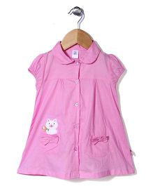 ToffyHouse Cap Sleeves Frock Cat Print - Pink