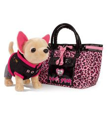 Simba Chi Chi Love Rock Star Doggy Toy With Bag Pink And Black - 7 Inches