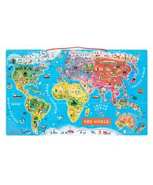 Janod Magnetic World Map Puzzle - Multicolor