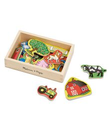 Melissa And Doug Wooden Farm Magnets Multicolor - 20 Pieces