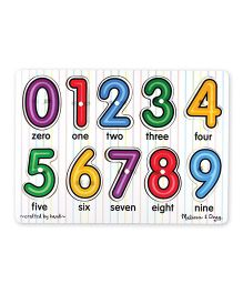 Melissa And Doug Wooden Numbers Peg Puzzle Multicolor - 10 Pieces