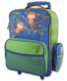 Stephen Joseph Luggage Bag Monkey Design - Green And Blue