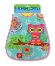 Stephen Joseph Wipe Able Bib Owl - Sea Green