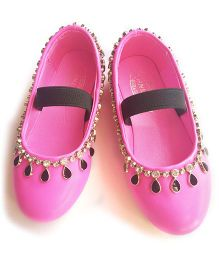 Milonee Glam Partywear Shoes with Studded Stones - Pink
