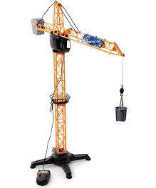 John World Remote Controlled Construction Crane - Black And Yellow