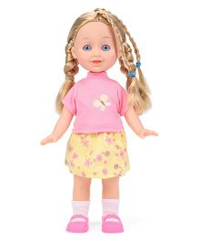 Hamleys Calinou Doll And Dog With Accessories Set Pink Yellow - Height 30 cm