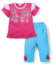 Wonderchild 2 Piece Girls' Capri Set - Pink & Blue