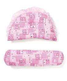 Little Wacoal Bear Print Pillow And Bolster Set - Pink