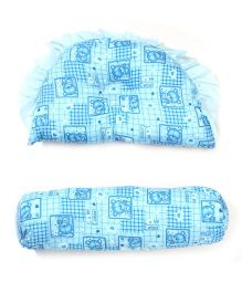 Little Wacoal Bear Print Pillow And Bolster Set - Blue