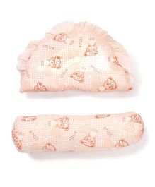 Little Wacoal Love Bear Print Pillow And Bolster Set - Light Orange