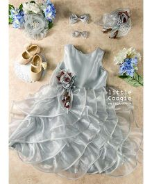 Little Coogie Party Dress With Flower - Silver
