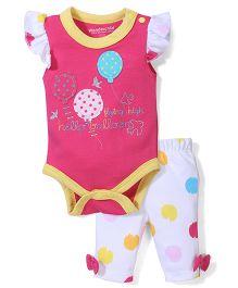 Wonderchild Balloon Print Onesie & Pant - Pink & White