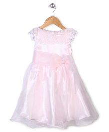Little Coogie Party Wear Dress With Bow - Light Pink