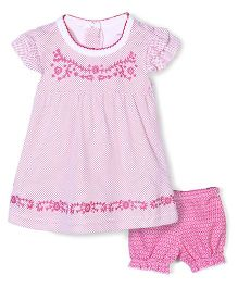Wonderchild Dot Print Dress & Bloomer Set - Pink