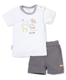 Wonderchild Animal Print Shorts & T-Shirt Set - Grey & White