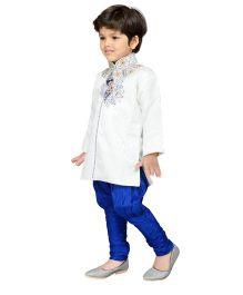 AJ Dezines Sherwani And Breeches Set Embellishment - White And Royal Blue