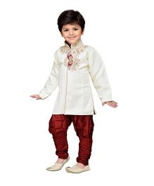 AJ Dezines Sherwani And Breeches Set Embellishment - White And Maroon