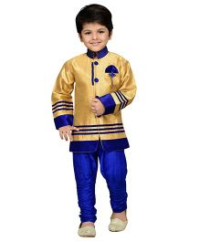 AJ Dezines Kids Sherwani And Breeches Set - Blue And Golden