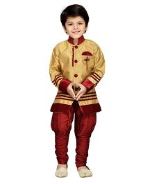 AJ Dezines Kids Sherwani And Breeches Set - Maroon And Golden