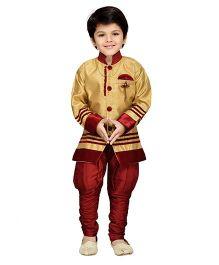 AJ Dezines Kids Sherwani And Breeches Set - Maroon And Golden
