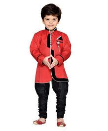 AJ Deznies Sherwani and Breeches Set - Black And Red