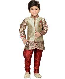 AJ Deznies Self Design Sherwani and Breeches Set - Maroon And Golden