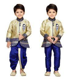 AJ Dezines Full Sleeves Kurta And Dhoti With Jodhpuri Breeches - Golden And Royal blue