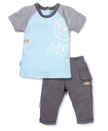 Wonderchild Lion Print T-Shirt & Pant Set - Grey & Blue
