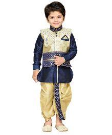 AJ Dezines Dhoti Kurta With Waistcoat Self Design - Golden And Blue
