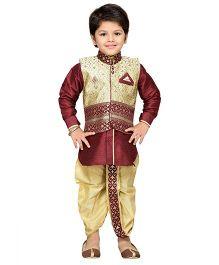 AJ Dezines Dhoti Kurta With Waistcoat Self Design - Golden And Maroon
