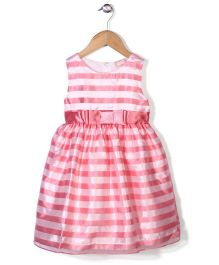 Little Coogie Striped Party Wear Dress - Pink