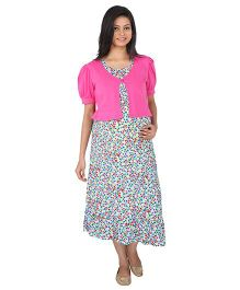 MomToBe Shrug Pattern Maternity Dress - Pink