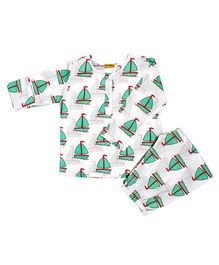 Ekchidiya Sail Boat Print Nightsuit - White & Green