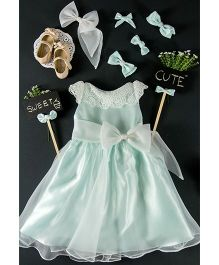 Little Coogie Floral Dress With Bow - Sky Blue