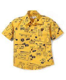 Jash Kids Half Sleeves Casual Multi Print Shirt - Yellow