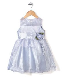 Little Coogie Party Dress With Lace & Flower - Silver