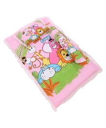 Attoon Baby Bedding With Bolster And Pillow Animals Print  - Pink